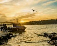 Costa di tramonto di Costantinopoli Bosphorus Fotografia Stock Libera da Diritti