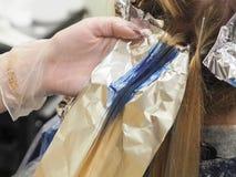 A costa do cabelo é azul colorido Destaques do arco-íris fotos de stock royalty free