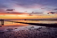 Costa do golfo do por do sol da maré baixa, Florida Imagens de Stock Royalty Free