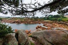 Costa do granito cor-de-rosa, Ploumanach, Brittany, França Fotografia de Stock