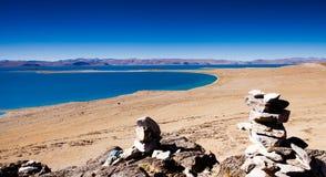 Costa do lago do namco de Zhari Fotos de Stock