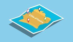 A Costa do Marfim África de ivore da costa explora mapas com estilo isométrico e fixa a etiqueta do lugar na parte superior ilustração stock