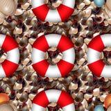 Costa do oceano com as pedras coloridas do mar Seixo do mar com o boia salva-vidas do fnd dos shell de formas diferentes Teste pa Fotos de Stock