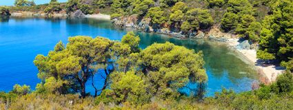 Costa egea di mattina, Sithonia, Grecia Fotografia Stock