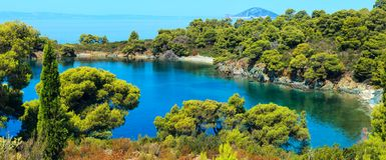 Costa egea di mattina, Sithonia, Grecia Immagine Stock Libera da Diritti
