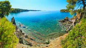 Costa egea di mattina, Sithonia, Grecia Immagini Stock