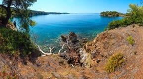 Costa egea di mattina, Sithonia, Grecia Fotografie Stock Libere da Diritti