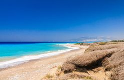 Costa egeia Rhodes Island Greece imagem de stock