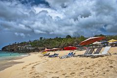 Costa em Saint Maarten Islandch Antilhas Fotografia de Stock