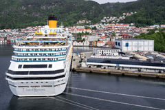 COSTA FAVOLOSA at Bontelabo cruise dock in Bergen, Norway Royalty Free Stock Photo