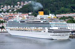 COSTA FAVOLOSA at Bontelabo cruise dock in Bergen, Norway Stock Image
