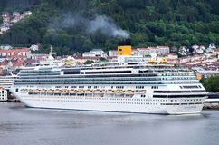 COSTA FAVOLOSA at Bontelabo cruise dock in Bergen, Norway Stock Images