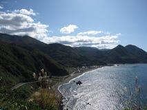 Costa giapponese della spiaggia con le colline Immagini Stock