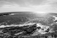 Costa costa hermosa en la puesta del sol, sur de Australia, isla del canguro Imagen de Fisheye fotos de archivo libres de regalías
