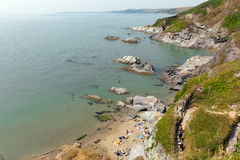 Costa Inglaterra Reino Unido de Cornualles de la bahía de Whitsand Fotos de archivo libres de regalías