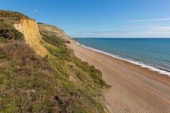 Costa jurásica británica de Eype Dorset Inglaterra al sur de Bridport y de la bahía del oeste cercana imágenes de archivo libres de regalías