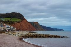 Costa jurásica cerca de Sidmouth fotos de archivo