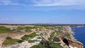 Costa leste de Mallorca perto dos marmorls do playa Fotografia de Stock