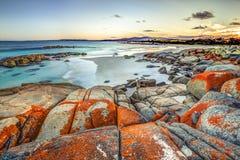 Costa leste de Tasmânia da paisagem de Drammatic fotos de stock