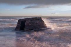 Costa lettone del Mar Baltico con Blockhouses Fotografia Stock