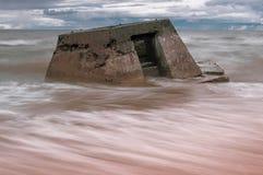 Costa lettone del Mar Baltico con Blockhouses Immagini Stock