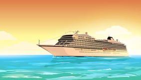 Costa Luminosa della nave da crociera Manifesto di viaggio di festa Illustrazione di vettore Fotografie Stock