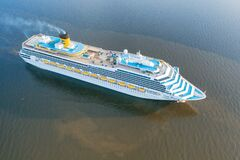 Free Costa Magica Cruise Ship In The Open Sea Aerial View Stock Images - 177154664