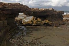 Costa marroquí en Dar Bouazza Imagen de archivo libre de regalías