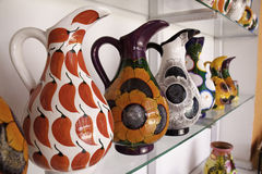 Costa Maya Mexico - Bright Colorful Pitchers!. Local arts and crafts available for purchase by tourists at a stand in Costa Maya, Mexico. A recently created Stock Photo
