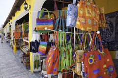 Costa Maya Mexico - Colorful Hand Bags. Local arts and crafts available for purchase by tourists at a stand in Costa Maya, Mexico. A recently created cruise port Stock Image