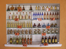 Costa Maya Mexico - Lots of Tequila!!!. Some of the many brands of Tequila available for purchase by tourists in Costa Maya, Mexico. A recently created cruise Royalty Free Stock Image