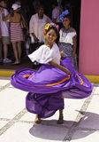Costa Maya Mexico - Native Dancing Woman. A local woman performs traditional dances in the cruise port shopping area for tourists visiting Costa Maya, Mexico Stock Photos
