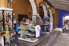 Costa Maya - Shopping for Mexico Souvenirs!. Colorful Mexican arts and crafts, souvenirs, and tequila available for purchase by tourists at a store in Costa Maya Stock Images