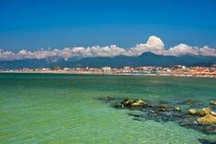 Costa mediterránea de Viareggio Foto de archivo libre de regalías