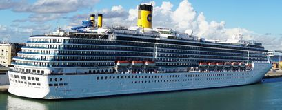 Costa Mediterranea. Is an Italian-registered cruise ship operated by the Costa Crociere cruise line  and owned by Carnival cruise lines. It is shown in port in Stock Image
