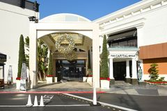 Capital Grille Souith Coast Plaza. COSTA MESA, CA - DEC 1, 2017: Capital Grille South Coast Plaza. The upscale steakhouse chain offers classic American fare and Royalty Free Stock Photography