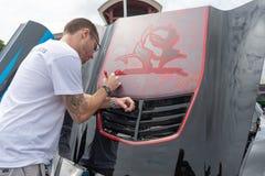 Costa Mesa, Etats-Unis - 20 avril 2019 : La voiture am?ricaine Chevrolet Corvette de muscle a exhib? ? l'?v?nement de visite Torq photo libre de droits
