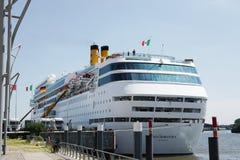 Costa Neoromantica docked in Hamburg Royalty Free Stock Photography