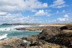 Costa norte córnico BRITÂNICA de Constantine Bay Cornwall England entre Newquay e Padstow Imagem de Stock Royalty Free