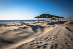 Costa Nova beach in Aveiro, Portugal stock images