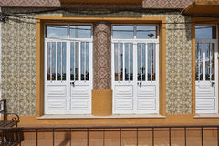 Costa Nova, Beira Litoral, Portugal, Europe. Detail of the house tiled with azulejo in famous resort Costa Nova on the Atlantic coast in Beira Litoral, Portugal Stock Images
