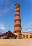 Costa Nova do Prado ( Portugal). Brick lighthouse Stock Photo