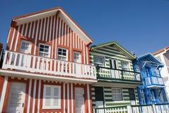 Costa Nova Houses. Typical beach houses of Costa Nova, Portugal Royalty Free Stock Photo