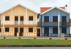 Costa Nova striped fishermen's  houses Royalty Free Stock Photo