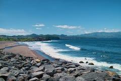 Costa oceanica dell'isola di Miguel del sao, Azzorre, Portogallo Fotografie Stock Libere da Diritti