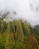 Costa oeste de la isla de Kauai de las visiones aéreas Fotografía de archivo
