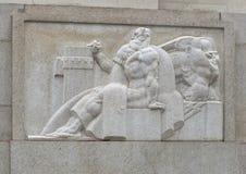 Costa Ovest della scultura di bassorilievo dell'entrata della via del mercato al Robert N C Niente, Sr Costruzione federale fotografia stock libera da diritti