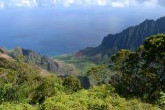 Costa ovest di Kaui, vista dalla montagna Immagine Stock Libera da Diritti