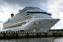 Costa Pacifica large cruise ship is docked in the crusie terminal of Klaipeda city. Stock Photography