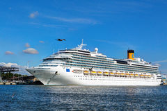 Costa Pacifica large cruise ship is docked in the crusie terminal of Klaipeda city. Stock Photos